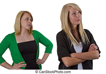 Argue - Two woman friends have an argue with each other-...