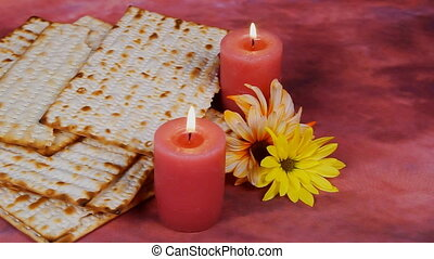 Background with matzo for Jewish Passover celebration -...