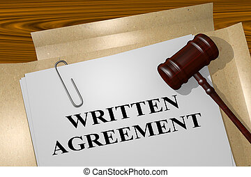 Written Agreement concept - 3D illustration of 'WRITTEN...
