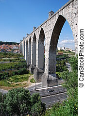 Aqueduct in Lisbon - historic aqueduct in the city of Lisbon...