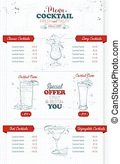 Drawing vertical cocktail menu design on a notebook page