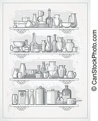 crockery on shelves - different kitchen dinnerware on...