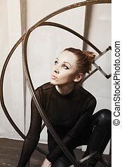 Young actress with metallic makeup