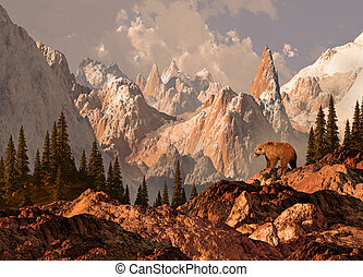 Mountain Grizzly Bear - Mountain grizzly bear in the Rocky...