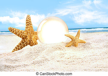 Crystal ball with starfish