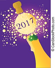 Bubbly New Year 2017 - Champagne bottle being opened with...