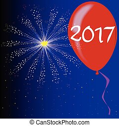 Happy New Year 2017 - A flyaway red balloon with a skyrocket...