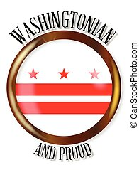Washington DC Proud Flag Button - Washington DC state flag...