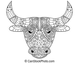 Head bull coloring vector for adults - Head bull coloring...
