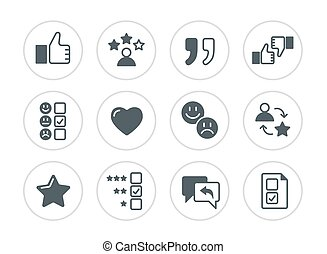set of testimonials related vector icons.