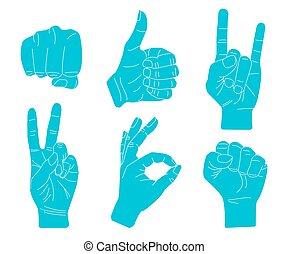 Set of Hand gestures.