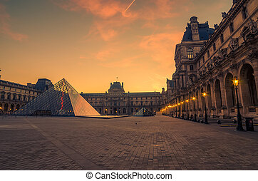 Paris, France: Louvre museum and the pyramid
