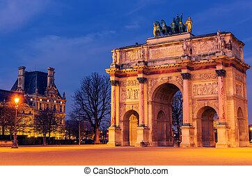 Paris, France: Arc de Triomphe du Carrousel in the sunrise
