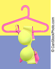 bra fashion on colorful background (pop art)