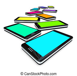 Smart Phones - Array of Colored Screens - Many smart phones...