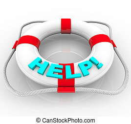 Help - Life Preserver - A white life preserver with the word...