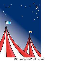 Circus tent background and a night sky with stars and moon.