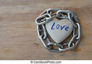 chain roll heart stone on board - chain roll heart stone on...