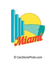 Sign Miami icon, cartoon style