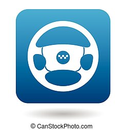Steering wheel of taxi car icon, flat style - Steering wheel...