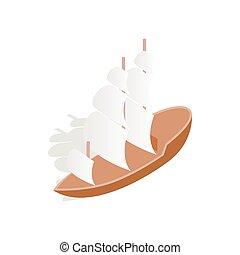 Sailing boat icon, isometric 3d style