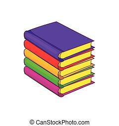 Bücherstapel gezeichnet  Clip Art Vektor von buecher, karikatur, stapel - freehand ...