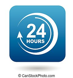 Round clock support icon, flat style - Round clock support...