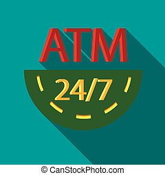 Round-the-clock ATM icon, flat style - Round-the-clock ATM...