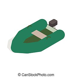 Inflatable boat icon, isometric 3d style - Inflatable boat...