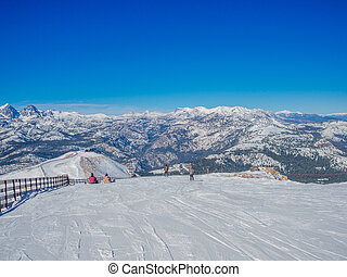 Snow landscape on Mammoth Mountain in California, US . -...