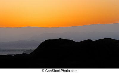 Desert before dawn - Arava Desert in Israel for several...