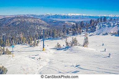 nieve, paisaje, en, Mamut, Montaña, en, California,...