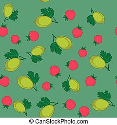 Berry and gooseberry cartoon seamless texture 647 - Berry...