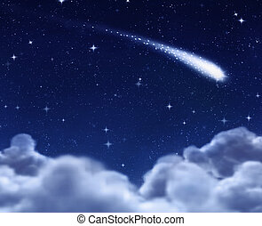 shooting star through clouds - shooting star in space...