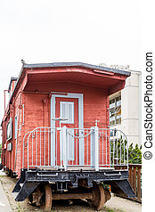 Red Wood Plank Caboose in Monterey