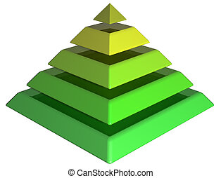 Layered Green Pyramid - Isolated illustration of a green...