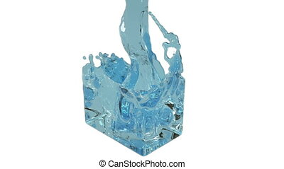 blue fluid fills up a rectangular container - close-up view...