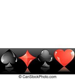 Card suit - Set of shiny card suit, part 3, vector...