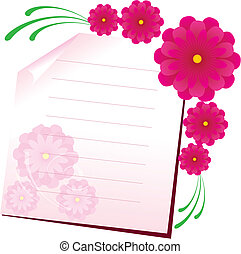 Background with sheet of paper and flowers, part 1, vector illustration