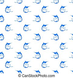 Set of Fish Marlin Seamless Pattern - Set of Fish Isolated...