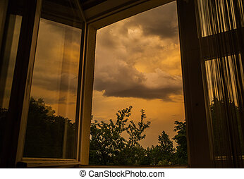 thundercloud cloud outside - Modern residential window with...