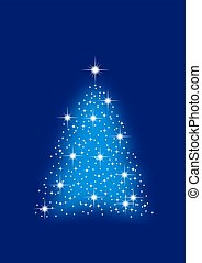 christmas tree - Blue abstract winter background with stars...