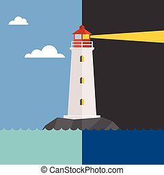 Vector lighthouse in day and night