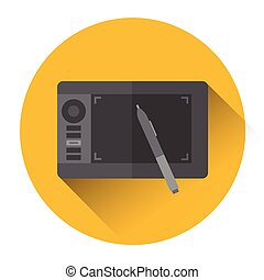 Professional Tablet Drawing Computer Icon Flat Vector...