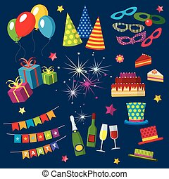 Celebration, happy birthday, party, carnival, festive vector icons set with balloons, cake, gift, fireworks, sparkler, drinks, flags