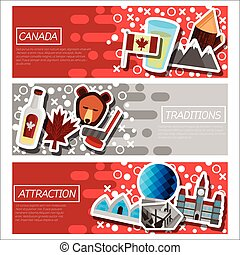Set of Horizontal Banners about Canada. Vector illustration,...
