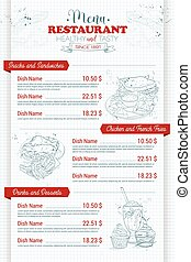 Restaurant vertical scetch menu design on a notebook page