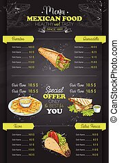 Drawing vertical color mexican food menu design on...