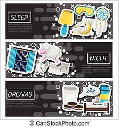Set of Horizontal Banners about Sleep time Vector...