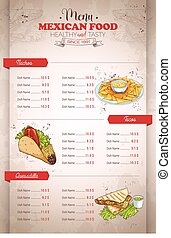 Drawing vertical color mexican food menu on retro background